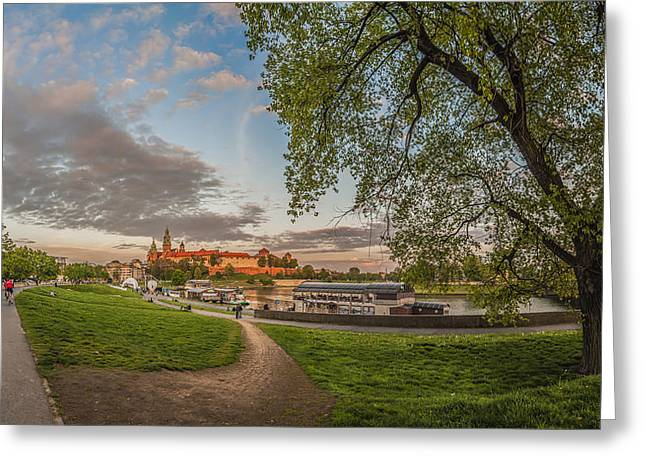 Wawel Royal Castle Seen From Vistula Bank In 16x9 Greeting Card