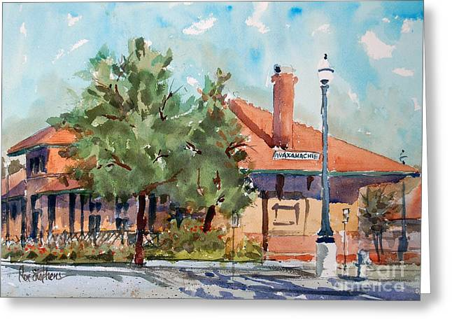 Waxachie Train Station Greeting Card by Ron Stephens