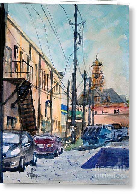 Waxahachie Back Alley Greeting Card by Ron Stephens