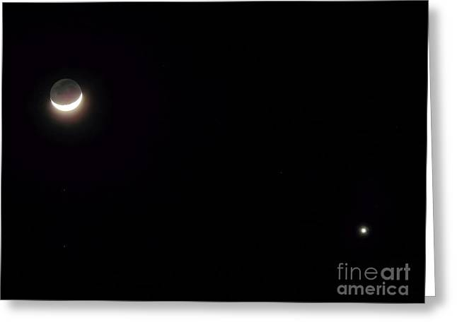 Waxing Moon With Venus Greeting Card by D Hackett