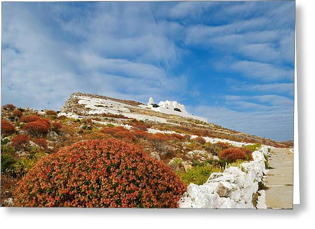 Way To The Top. Folegandros, One Of The Islands In The Cyclades Greeting Card by Yuri Hope