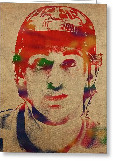 Wayne Gretzky Watercolor Portrait Greeting Card