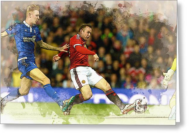 Wayne Rooney Of Manchester United Scores Greeting Card