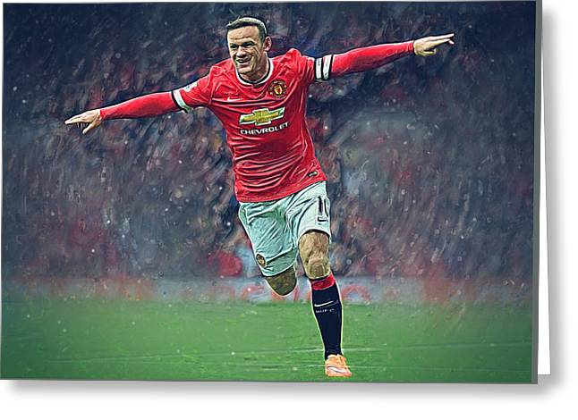 Wayne Rooney Greeting Card by Semih Yurdabak