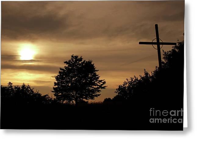 Wayside Cross In The Dusk Greeting Card by Michal Boubin