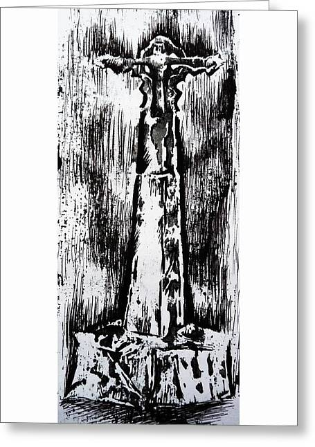 Wayside Cross Greeting Card by Lucy Deane
