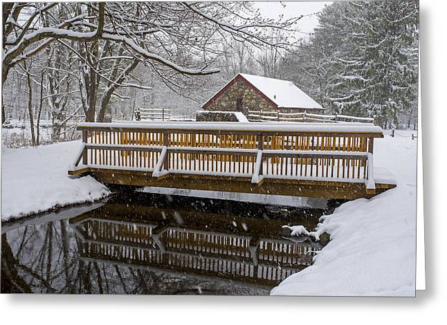 Wayside Inn Grist Mill Covered In Snow Bridge Reflection Greeting Card by Toby McGuire
