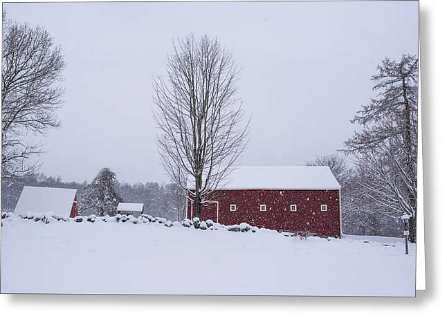 Wayside Inn Grist Mill Covered In Snow Storm 2 Greeting Card by Toby McGuire