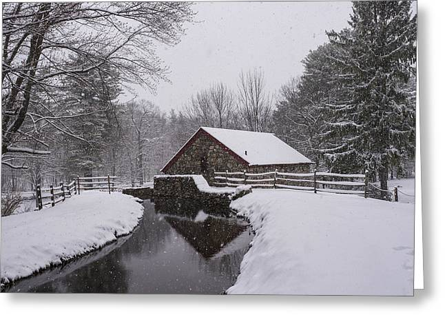 Wayside Inn Grist Mill Covered In Snow Storm Reflection Greeting Card