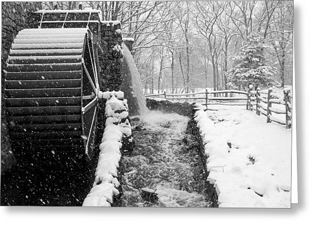 Wayside Inn Grist Mill Covered In Snow Storm Side View Black And White Greeting Card by Toby McGuire