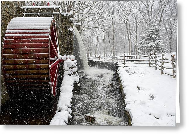 Wayside Inn Grist Mill Covered In Snow Storm Side View Greeting Card