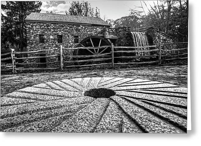Wayside Inn Grist Mill Millstone Black And White Greeting Card by Toby McGuire