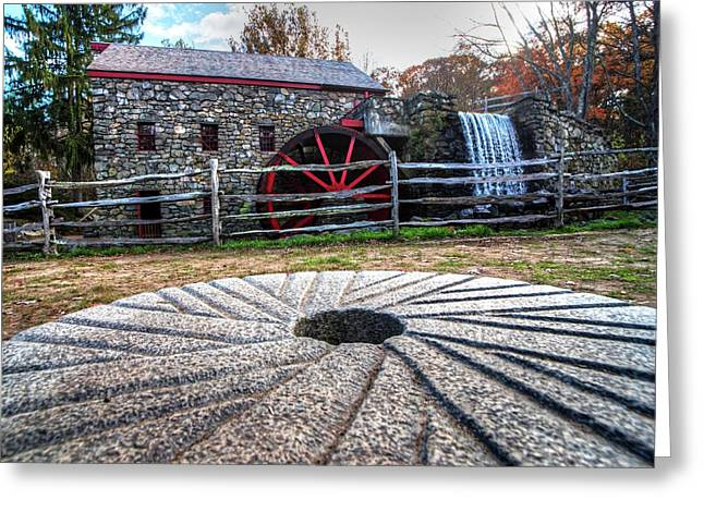 Wayside Inn Grist Mill Millstone Greeting Card by Toby McGuire