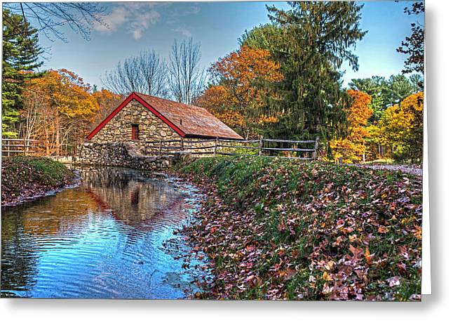 Wayside Inn Grist Mill Stream Sudbury Ma Greeting Card by Toby McGuire