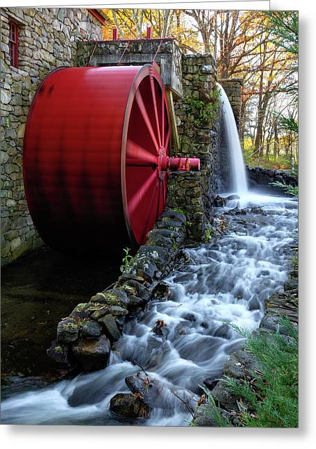 Wayside Inn Grist Mill Water Wheel Greeting Card by Betty Denise