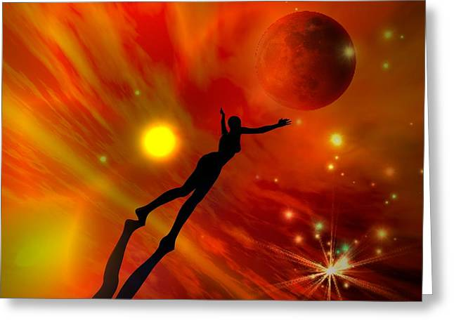Greeting Card featuring the digital art We All Shine On Like The Moon And The Stars And The Sun by Shadowlea Is