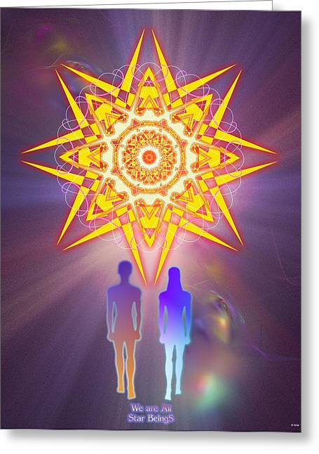 Yellow Chakra Greeting Cards - We are All Star BeingS Greeting Card by Arie Van der Wijst