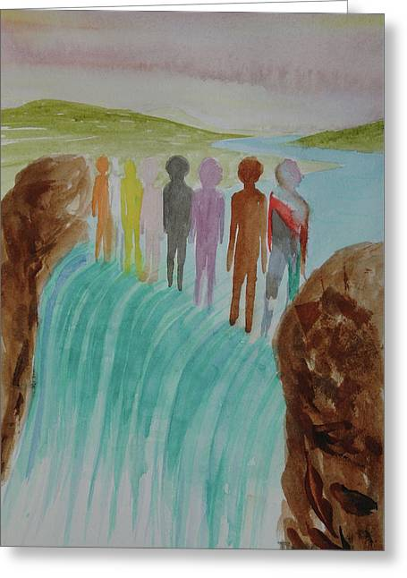 Greeting Card featuring the painting We Are All The Same 1.2 by Tim Mullaney