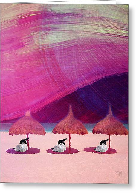 Greeting Card featuring the digital art We Are But Sheep On The Beach by Jean Moore