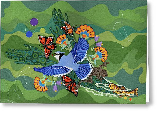 Greeting Card featuring the painting We Are One by Chholing Taha