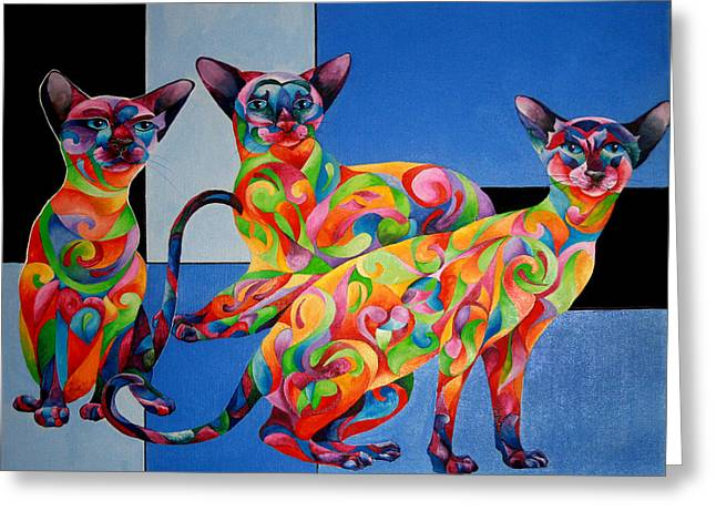 We Are Siamese If You Please Greeting Card by Sherry Shipley