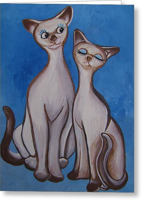 We Are Siamese Greeting Card by Leslie Manley