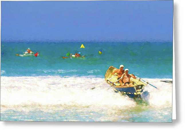 We Can Catch Them Lifeboat Race Watercolor Greeting Card