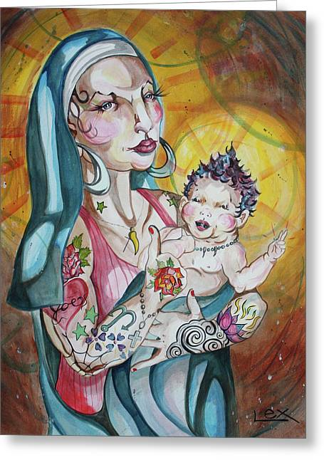We Can Do It  Inked Mary And Jesus Greeting Card by LEX Covato
