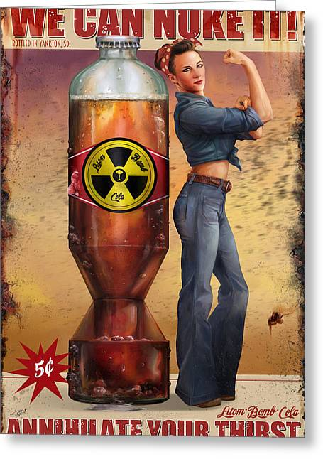 Greeting Card featuring the digital art We Can Nuke It by Steve Goad