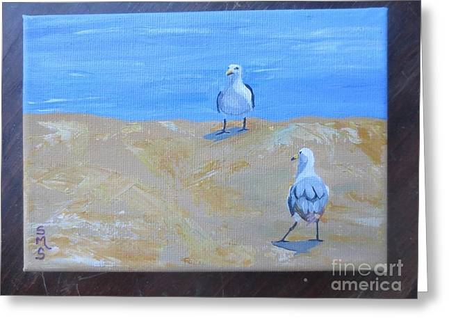 We First Met On The Beach Greeting Card by Stella Sherman