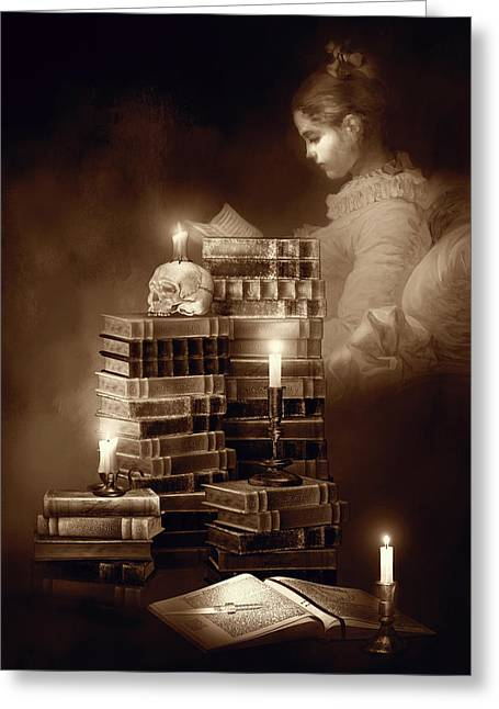 We Read To Know We Are Not Alone Sepia Color Greeting Card by Georgiana Romanovna