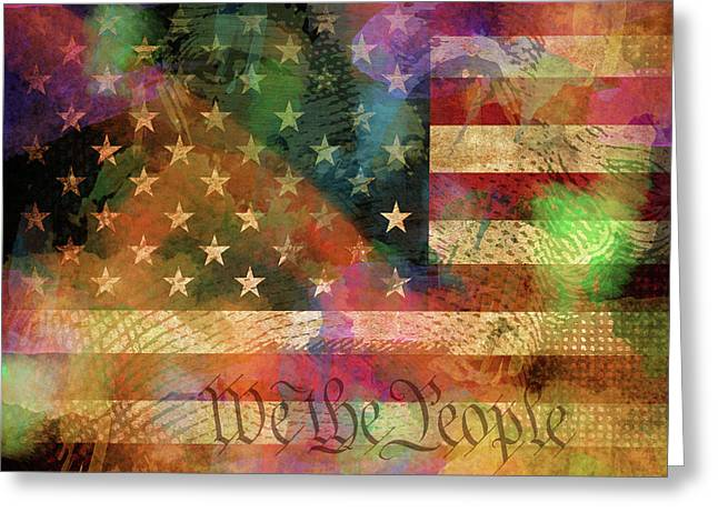 We The People Distressed Grunge Usa American Flag With Washington Hidden Portrait Greeting Card