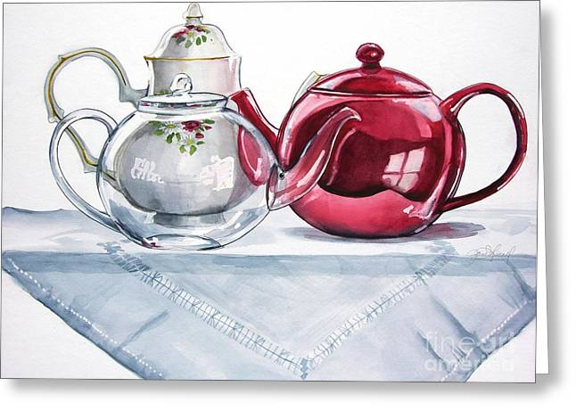 We Three Teapots Greeting Card