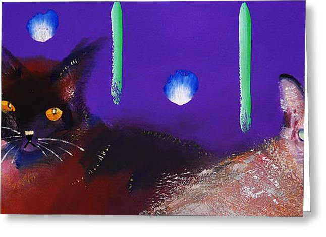 Cat On Back Greeting Cards - We Two Cats Greeting Card by Charles Stuart