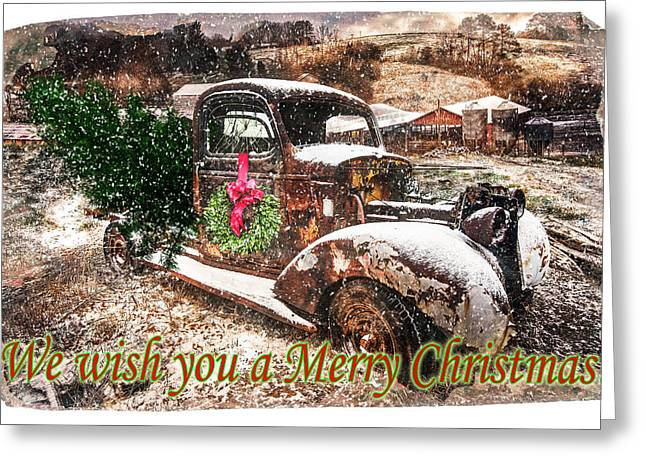 We Wish You A Merry Christmas Greeting Card by Debra and Dave Vanderlaan