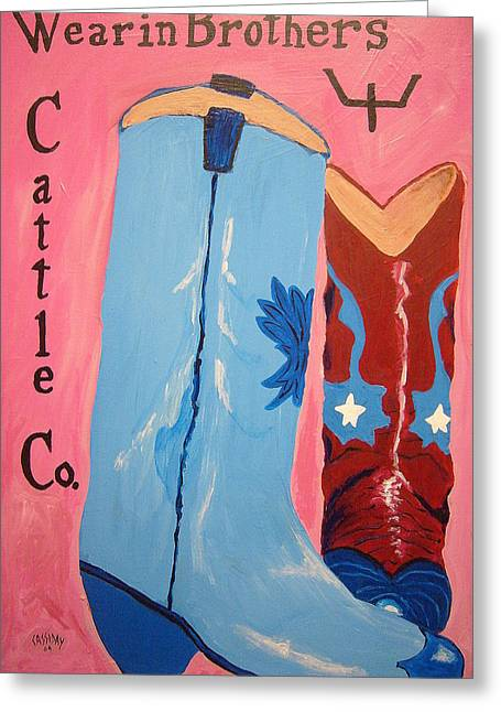 Wearin Brothers Cattle Co.  Greeting Card by Bud Cassiday