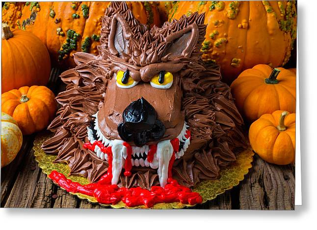 Wearwolf Cake Greeting Card by Garry Gay