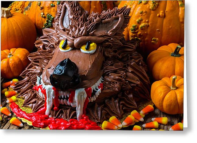 Wearwolf Cake With Pumpkins Greeting Card