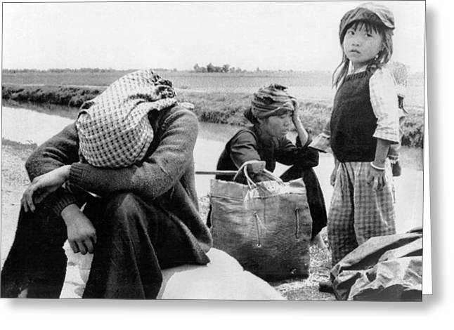 Weary Vietnamese Refugees Greeting Card by Underwood Archives
