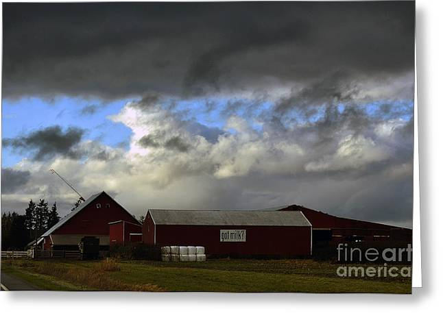 Weather Threatening The Farm Greeting Card by Clayton Bruster