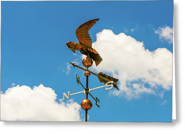 Weather Vane On Blue Sky Greeting Card