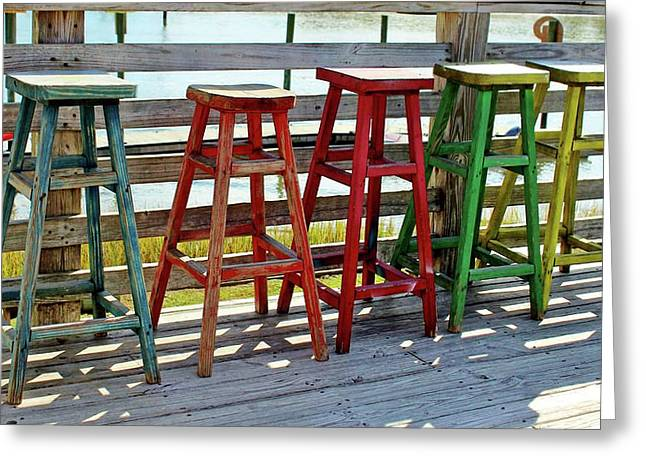 Weathered Bar Stools Greeting Card by Cynthia Guinn