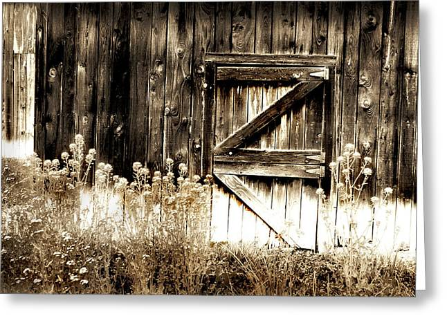 Weathered Barn Door Greeting Card by Gray  Artus
