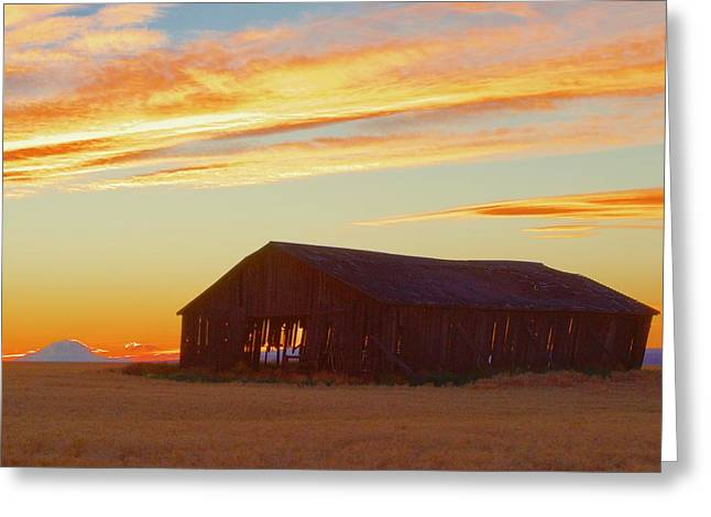 Weathered Barn Sunset Greeting Card