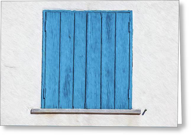 Weathered Blue Shutter Greeting Card