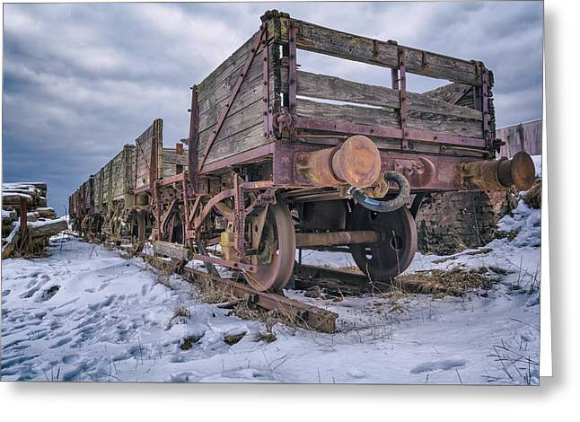 Weathered Coal Carts Greeting Card