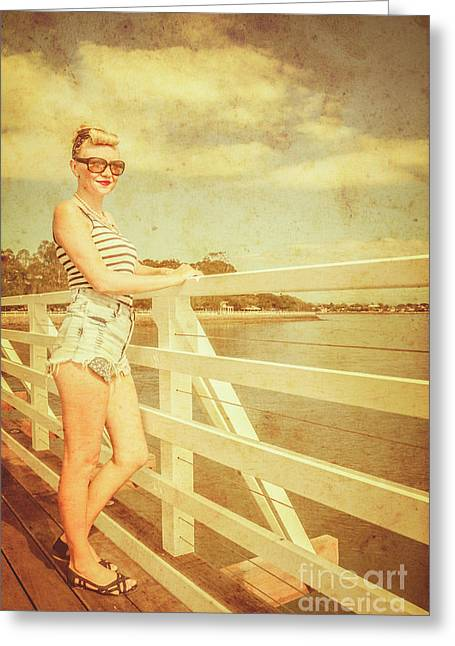 Weathered Pin Up Tourist Greeting Card by Jorgo Photography - Wall Art Gallery