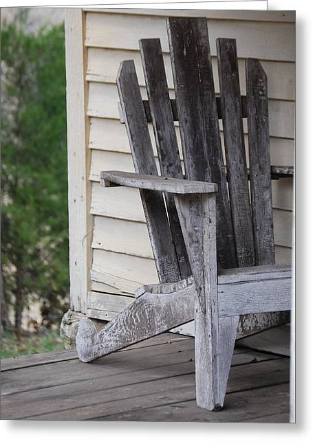 Greeting Card featuring the photograph Weathered Porch Chair by Debbie Karnes