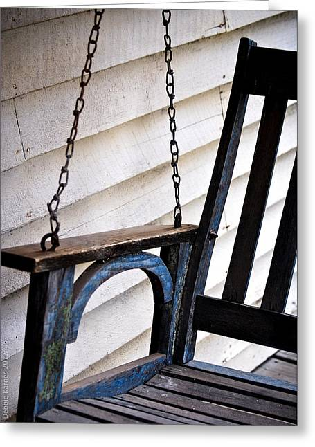 Weathered Porch Swing Greeting Card by Debbie Karnes