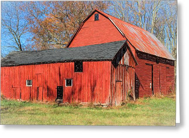 Weathered Red Barn Greeting Card